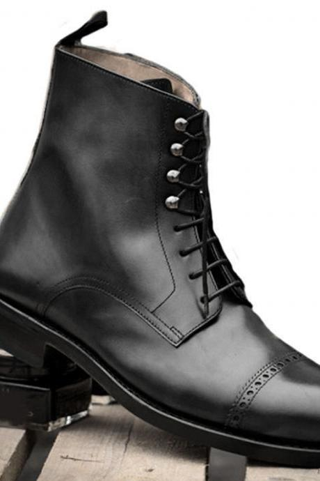 New Handmade Black Ankle High Cap Toe Office Wedding Lace Up Formal Boots Men