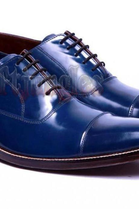 Handmade Cap Toe Blue Oxford Formal Dress Lace Up Leather Shoes