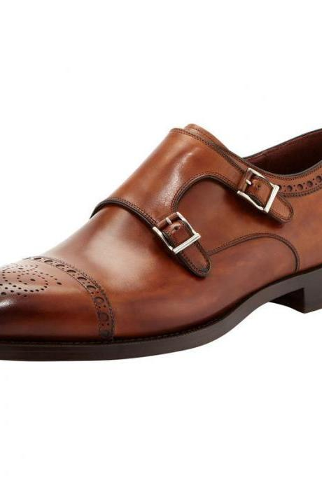 Handmade Stylish Brogue Double Monk Strap Office Dress Leather Shoes