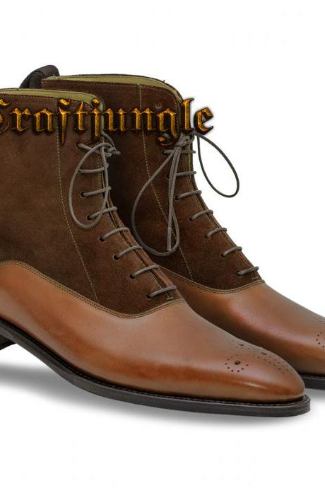 Handmade Ankle High Brown Dress Formal Casual Fashion Leather Boots
