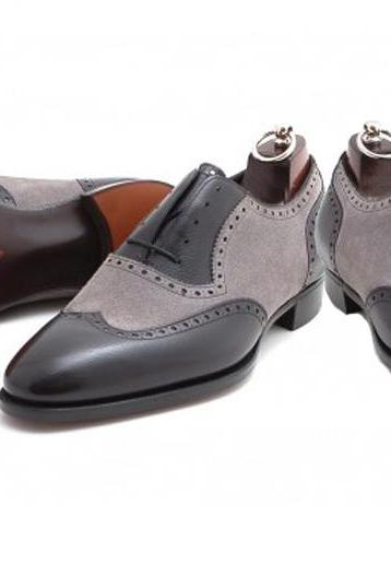 Handmade Black Gray Leather Formal Brogue Formal Dress Shoes