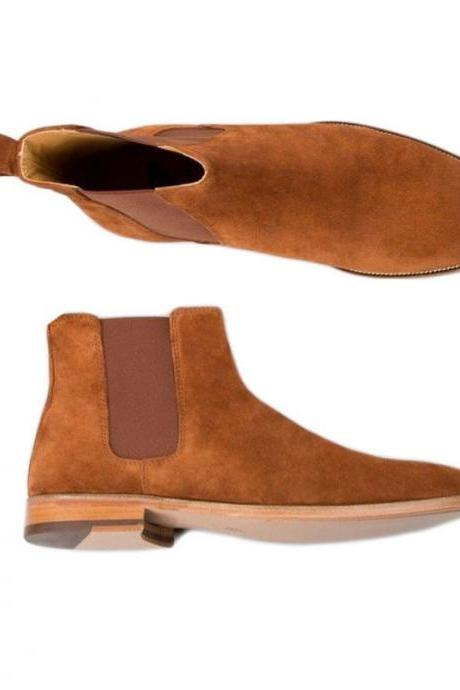 Handmade Men Tan Chelsea Suede Dress Office Casual Chelsea Formal Boots
