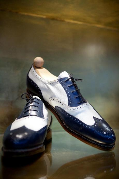 New Men Handmade Two Tone Wing Tip Brogue Leather Formal Shoes