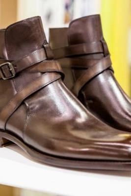 New Handmade Men Jodhpur Brown Leather Ankle Boots
