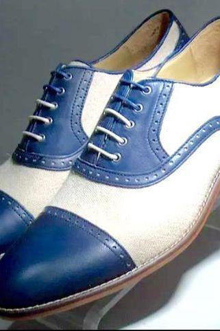 New Handmade Men Oxford Two Tone Cap Toe Spectator Leather Dress Shoes