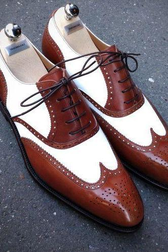 New Handmade Men Two Tone Wing Tip Brogue Spectator Formal Shoes