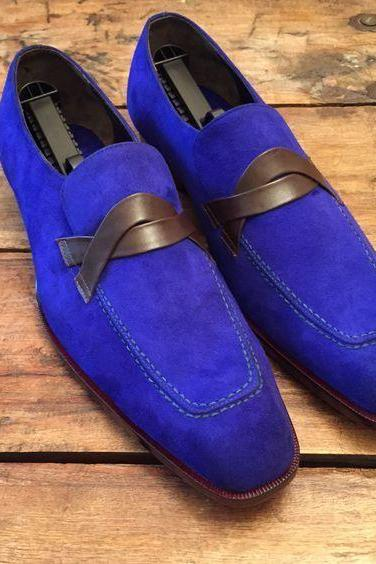New Handmade Men Royal Blue Suede Loafers Shoes
