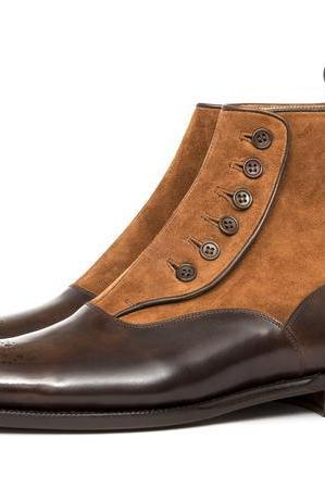 New Handmade Men Ankle High Button Top Two Tone Brogue Suede & Leather Boots