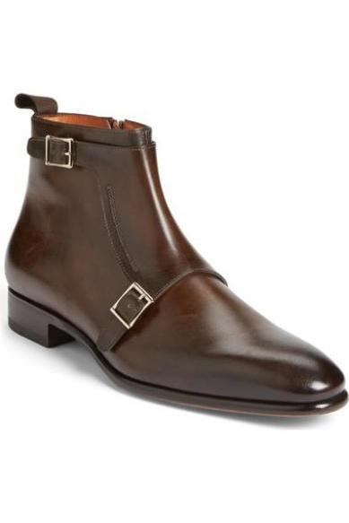 New Handmade Men Double Monk Brown Leather Boots