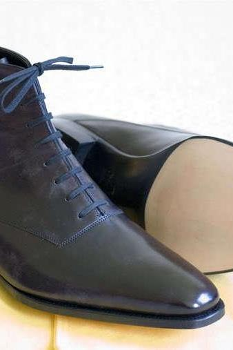New Handmade Men Black Ankle High Lace Up leather Boots