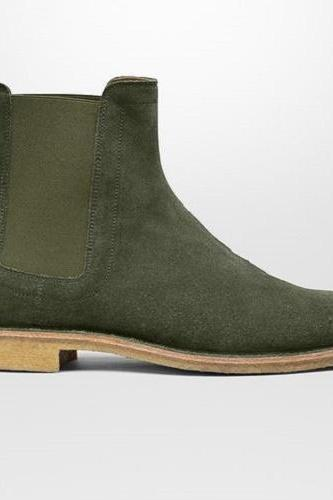 New Handmade Men Hunter Green Suede Chelsea Boots