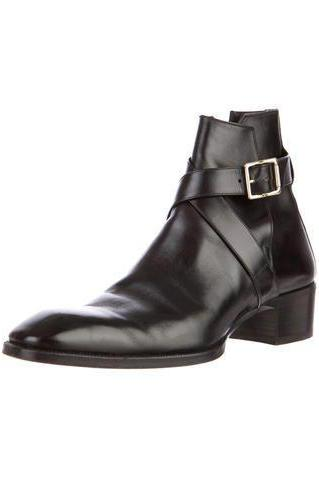 New Handmade Men Black Leather Jodhpur Boots