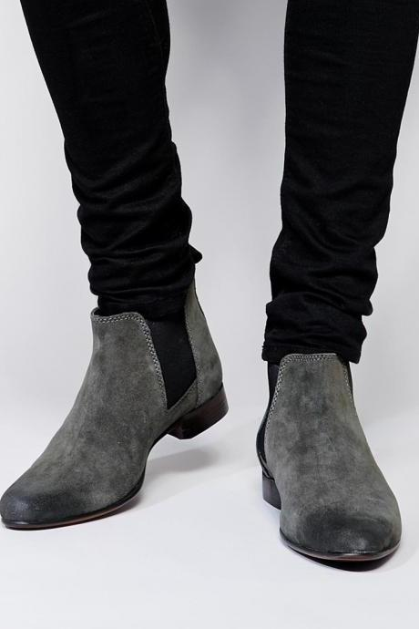 New Handmade Men Gray Suede Chelsea Dress Formal Boots