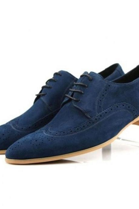 New Handmade Men Wing Tip Brogue Suede Formal Shoes