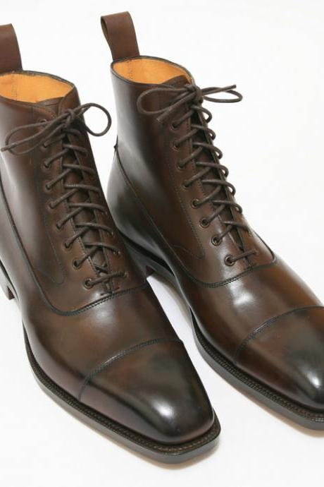 New Handmade Men brown Cap Toe Ankle High Lace Up Leather Boots