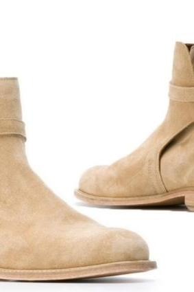 New Handmade Men Beige Jodhpur Style Suede Dress Formal Boots