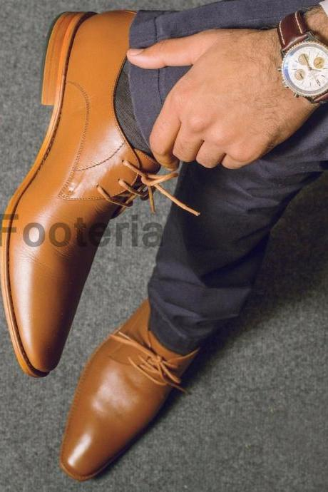 New Handmade Men Tan Leather Dress Formal Shoes