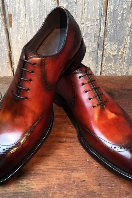 New Handmade Men Cap Toe Brogue Brown Leather Shoes