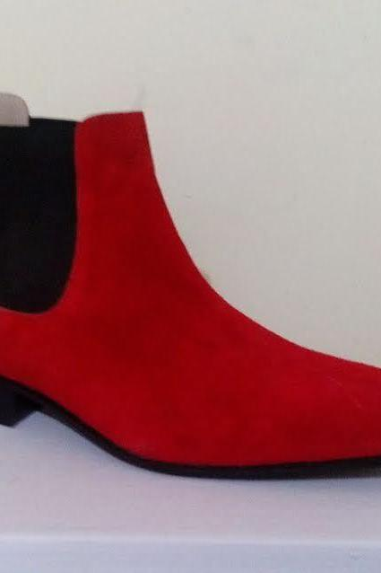 New Handmade Men Red Chelsea Suede Dress Formal Boots