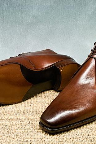 New Handmade Men Brown Leather Dress Formal Shoes