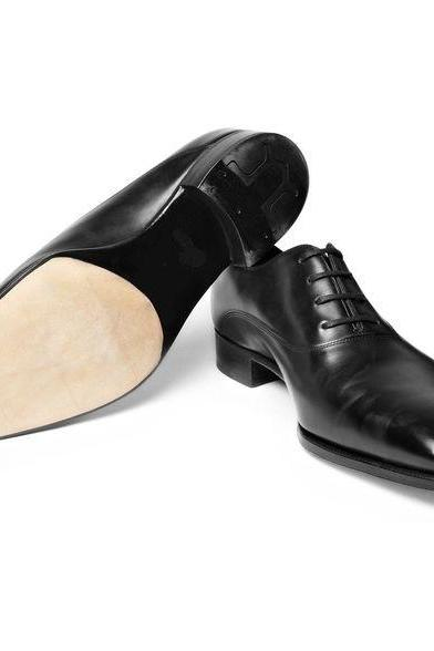 New Handmade Men Black Leather Lace Up Dress Formal Shoes