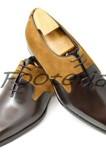 New Handmade Men Two Tone Lace Up Leather & Suede Shoes