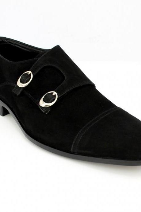 New Handmade Men Double Monk Strap Suede Shoes