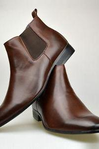 New Handmade Men Brown Leather Chelsea Boots