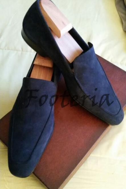 New Handmade Men Navy Blue Suede Loafers Dress Formal Boots