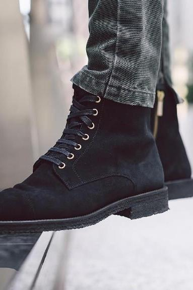 New Handmade Men Black Suede Ankle High Lace & Zip Up Cap Toe Formal Boots