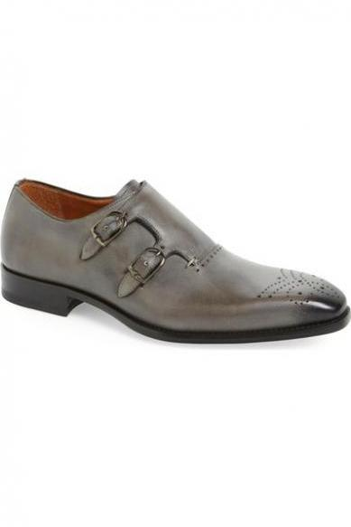 New Handmade Men Grey Double Monk Strap Brogue Leather Formal Shoes