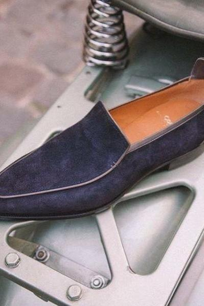 New Handmade Men Navy Blue Suede Moccasins Dress Formal Boots