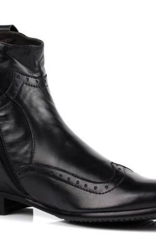 New Handmade Men Black Leather Wing Tip Brogue Ankle High Zip Up Boots