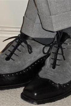 New Handmade Men Black & Grey Wing Tip Brogue Leather & Suede Shoes