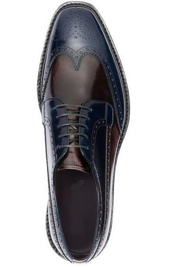 New Handmade Men Two Tone Cap Toe Brogue Lace Up Leather shoes