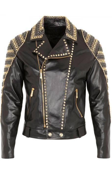 Handmade Mens Black Leather Golden Silver Studded Leather Jacket