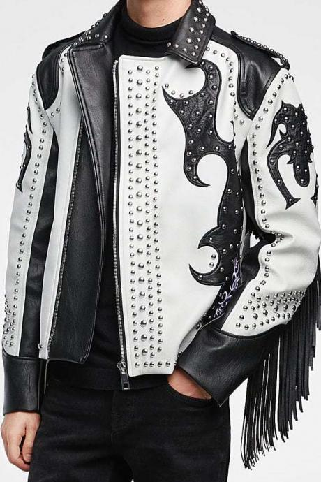 Mens Handmade Black & White Leather Silver Studded Leather Jacket