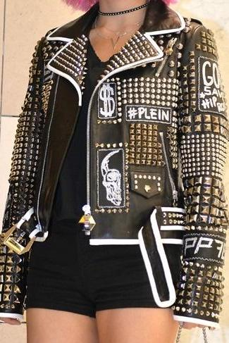New Handmade Woman Philip Plein Studded Patches Black Leather Jacket