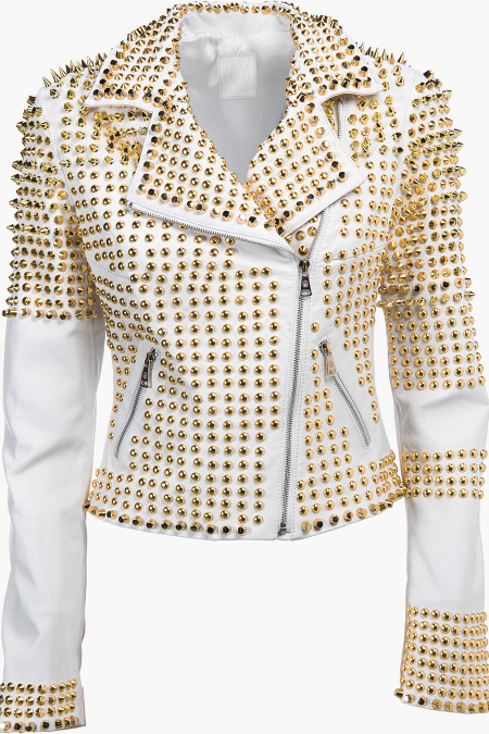 New Handmade Women White Full Golden Studded Real Leather Biker Jacket
