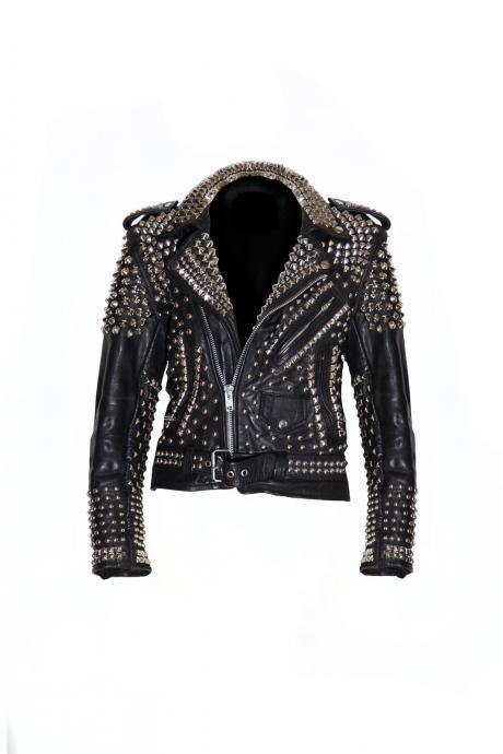 New Woman Black Punk Full Silver Studded Cow Leather Biker Jacket