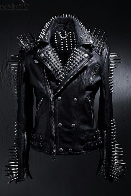 New Handmade Mens Punk Style Full Black Biker Long Spikes Studded Leather Jacket