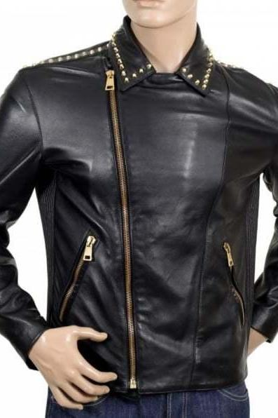 New Handmade Mens Versace Biker Studded Leather Zipped Black Jacket