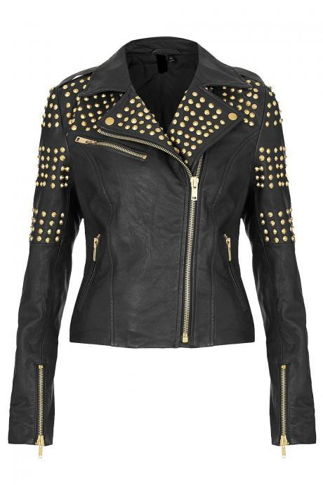 New Handmade Womens Pure Golden Half Studded Brando Style Black Leather Jacket