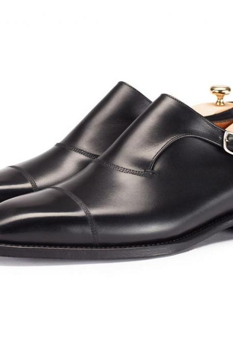 Handmade Men Single Monk Strap Cap toe Black Dress Shoes