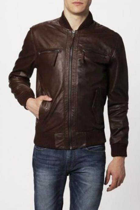 Handmade Mens Leather Jacket Motorcycle Brown Biker Style Jacket