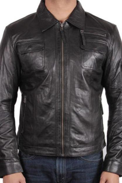 Handmade Mens Leather Jacket Motorcycle Black Biker Leather Jacket