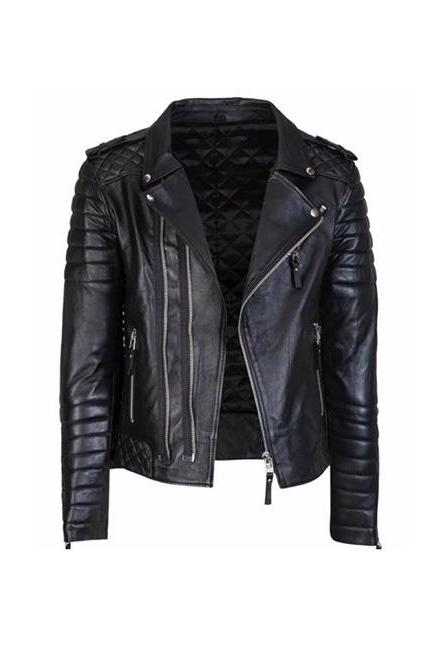Men's Soft Genuine Leather Black Biker Motorcycle Jacket Bomber Fashion jacket