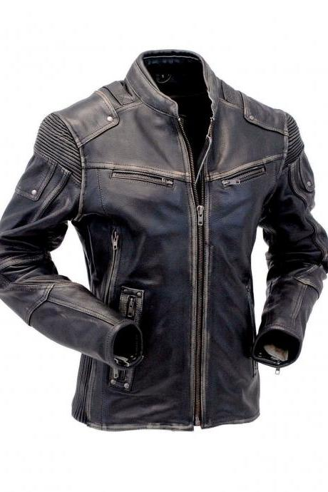 Men's Vintage Biker Style Motorcycle Cafe Racer Distressed Genuine Leather Jacket