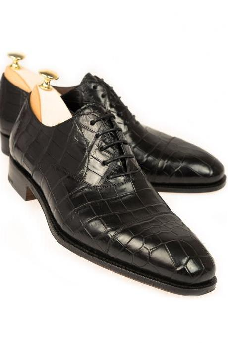 Alligator Oxfords Rain Shoes, Men's Whole Cut Black Leather Shoes