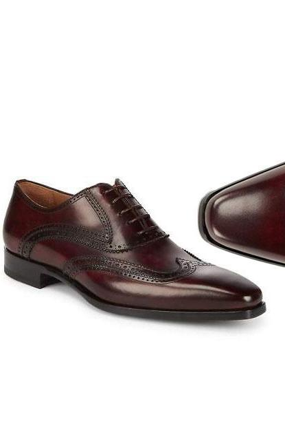 MEN'S HANDMADE BURGUNDY WINGTIP DRESS LEATHER SHOES, MEN OFFICE SHOES